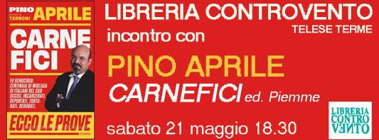 Copertina evento PINO APRILE scura Libreria Controvento Telese PICCOLA