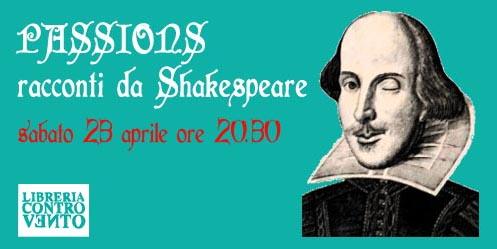 Copertina evento passions Libreria Controvento Telese shakespeare copia pic